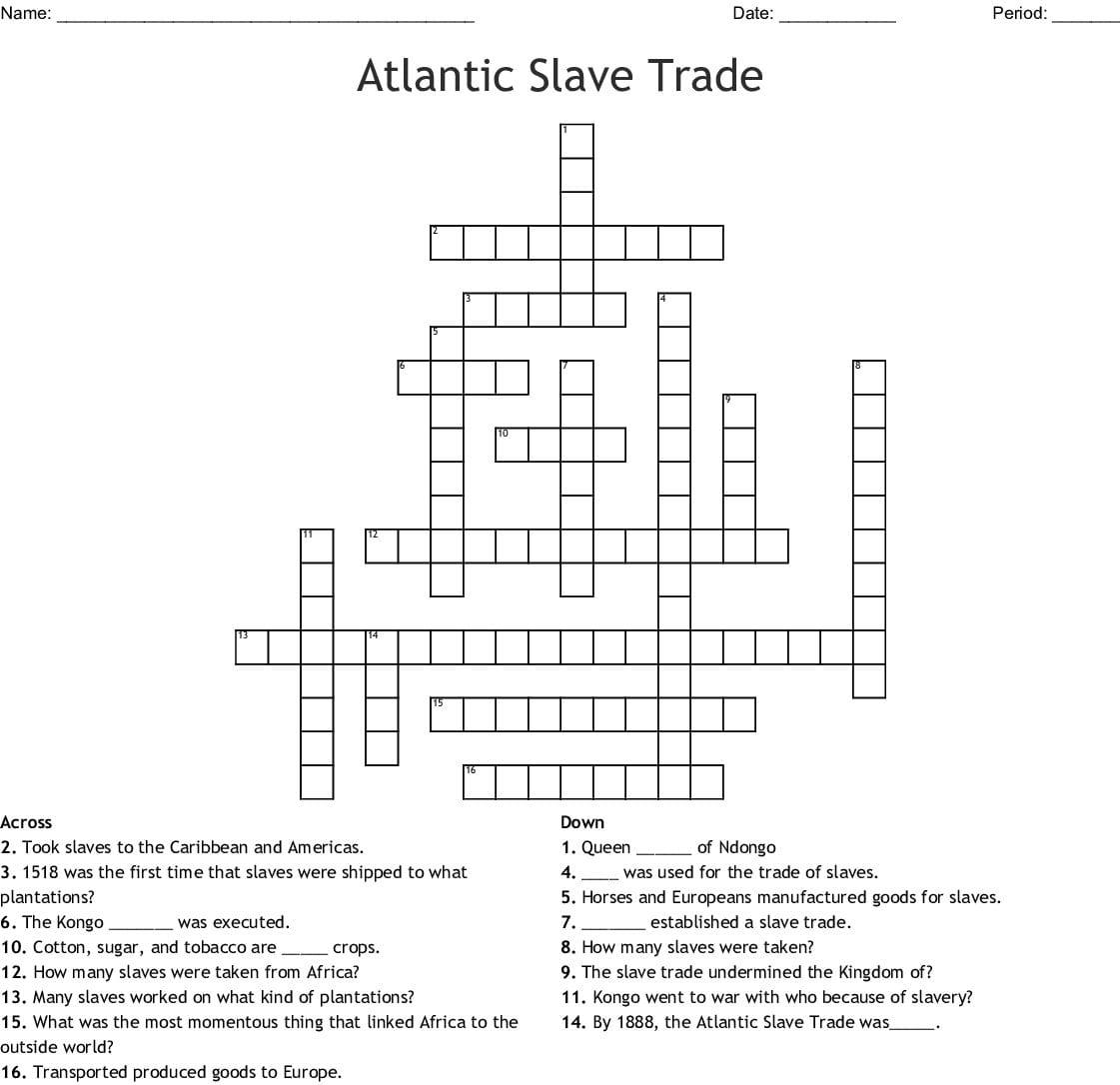 Atlantic Slave Trade Crossword Word