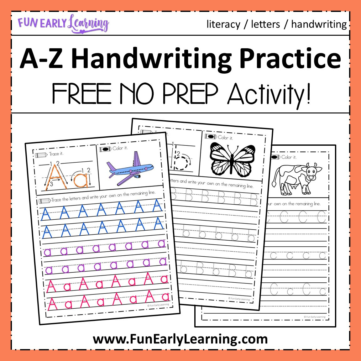 Az Handwriting Practice No Prep Worksheets For Learning