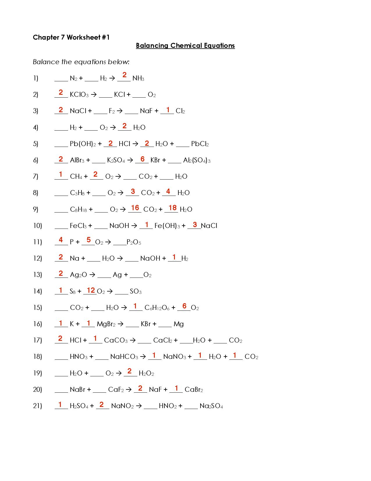 Balancing Chemical Equations Docsity
