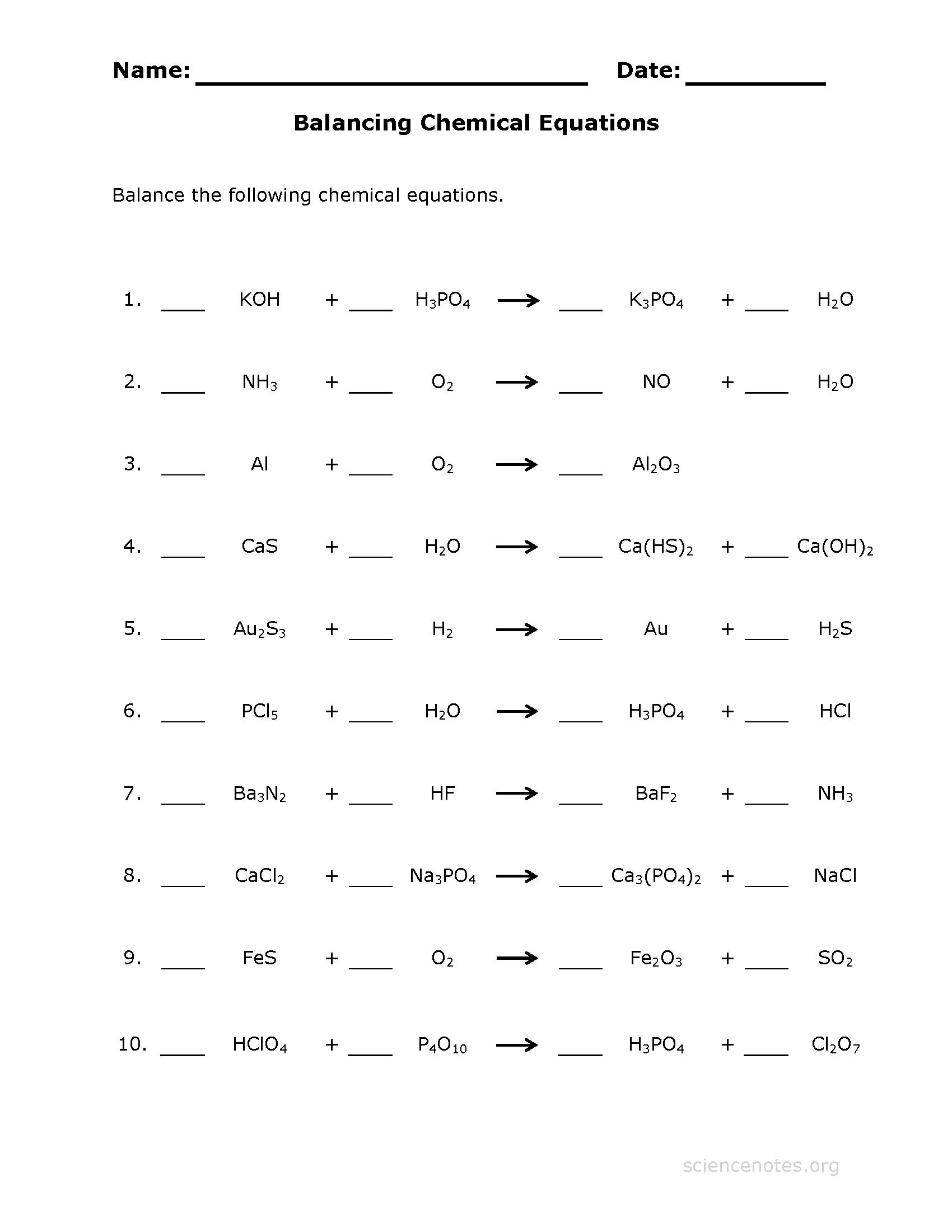 Balancing Chemical Equations Practice Worksheet