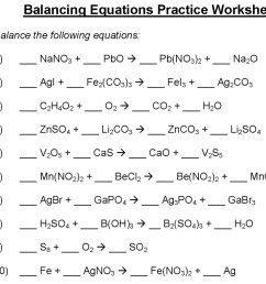 Balancing Equations Practice Worksheet Doc   Printable Worksheets and  Activities for Teachers [ 925 x 1024 Pixel ]