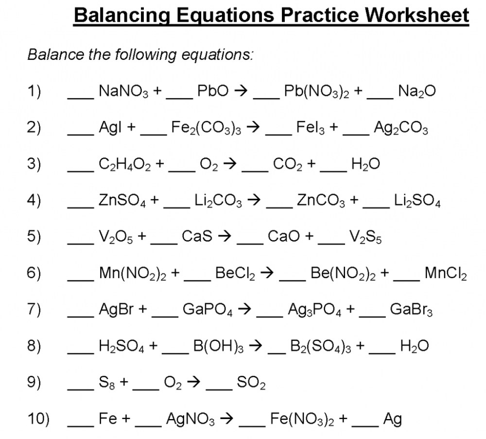 medium resolution of Balancing Equations Practice Worksheet Doc   Printable Worksheets and  Activities for Teachers