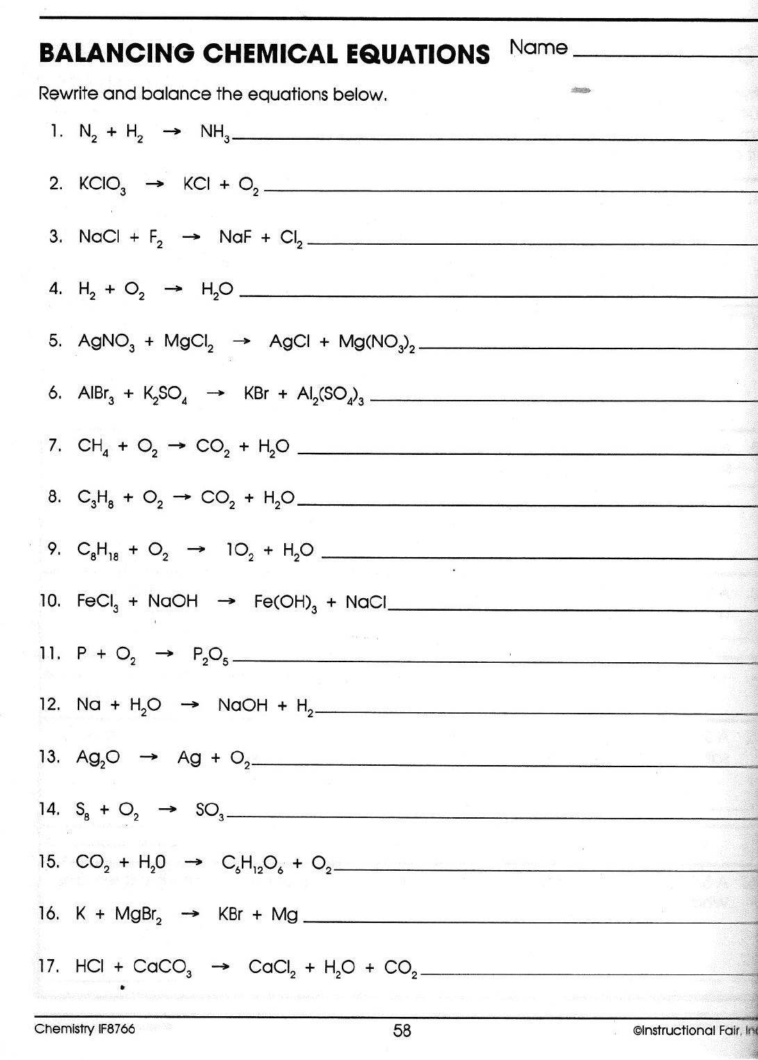 Balancing Equations Worksheet Physical Science If