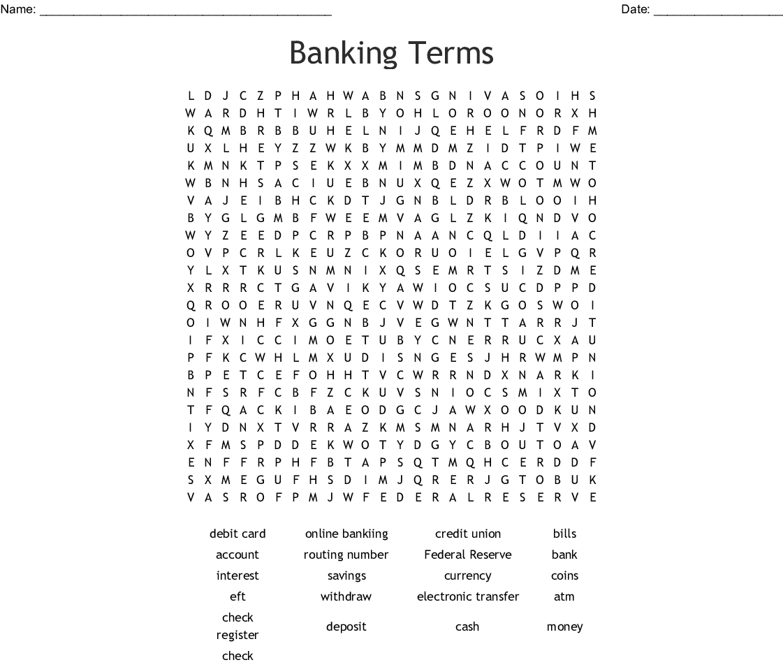 Banking Terms Word Search Word