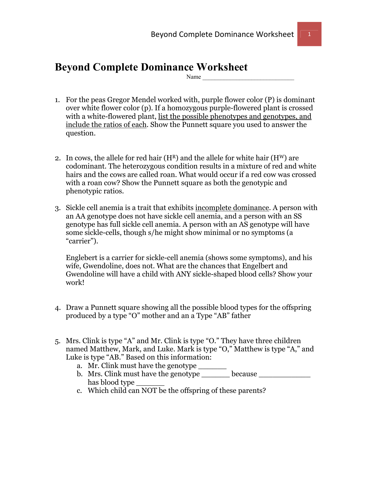 Beyond Complete Dominance Worksheet