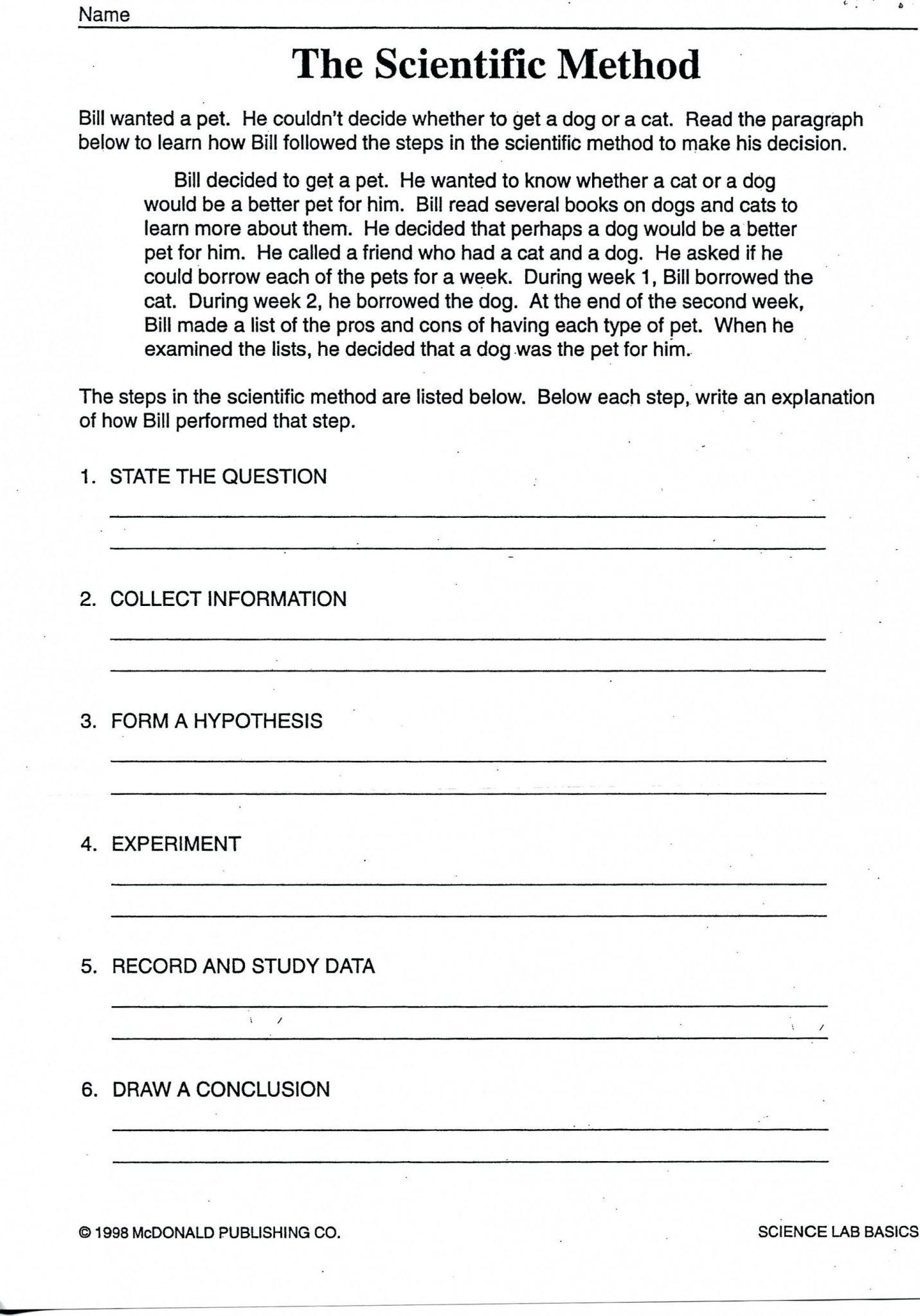 Bill Nye Scientific Method Worksheet
