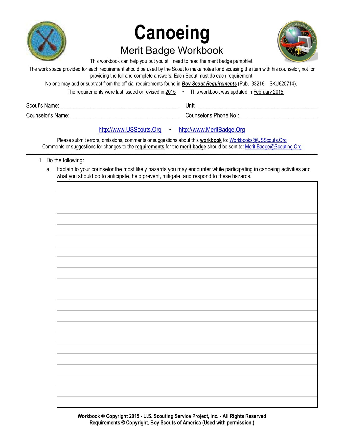 Canoeing Merit Badge Worksheet Us Service Pages 1