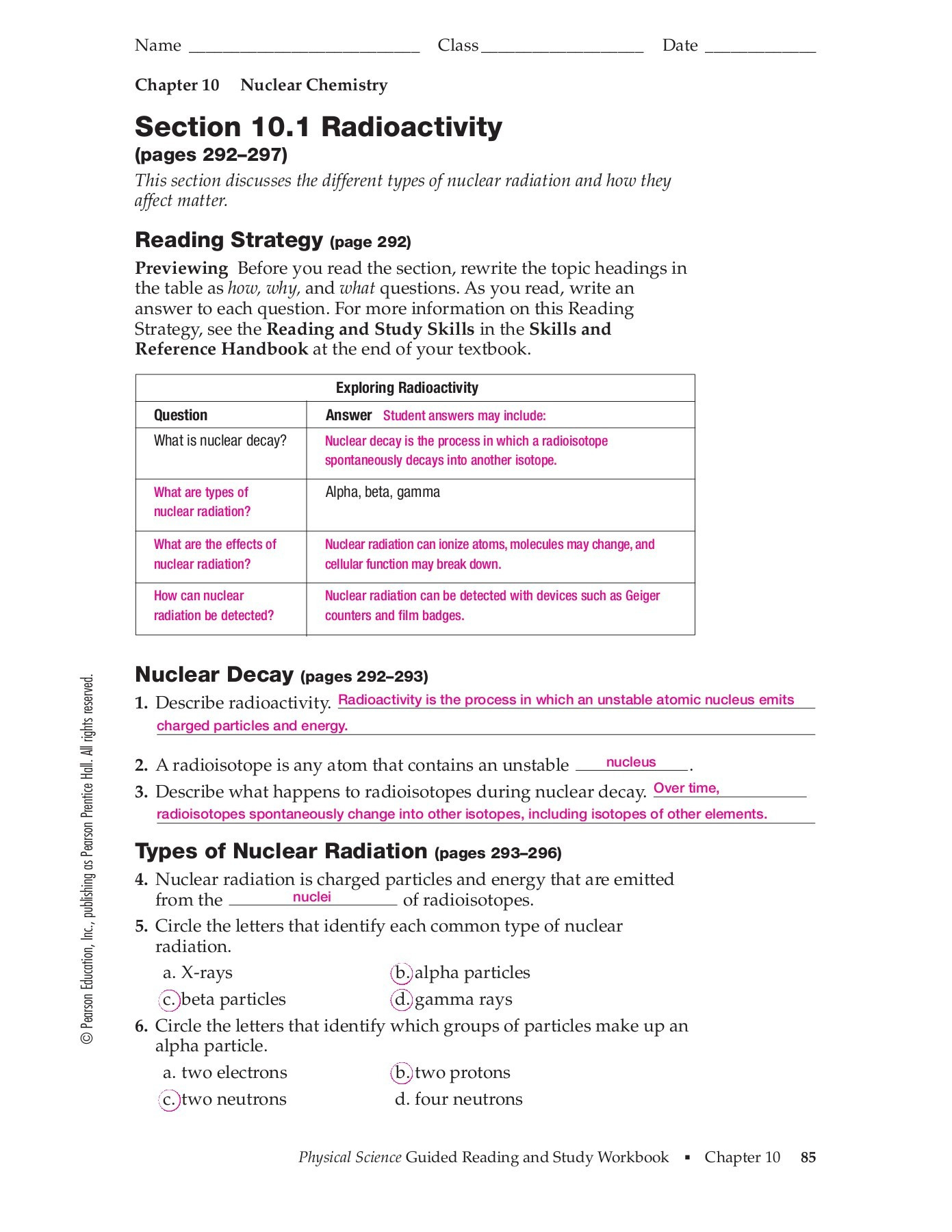 Chapter 10 Nuclear Chemistry Section 101 Radioactivity