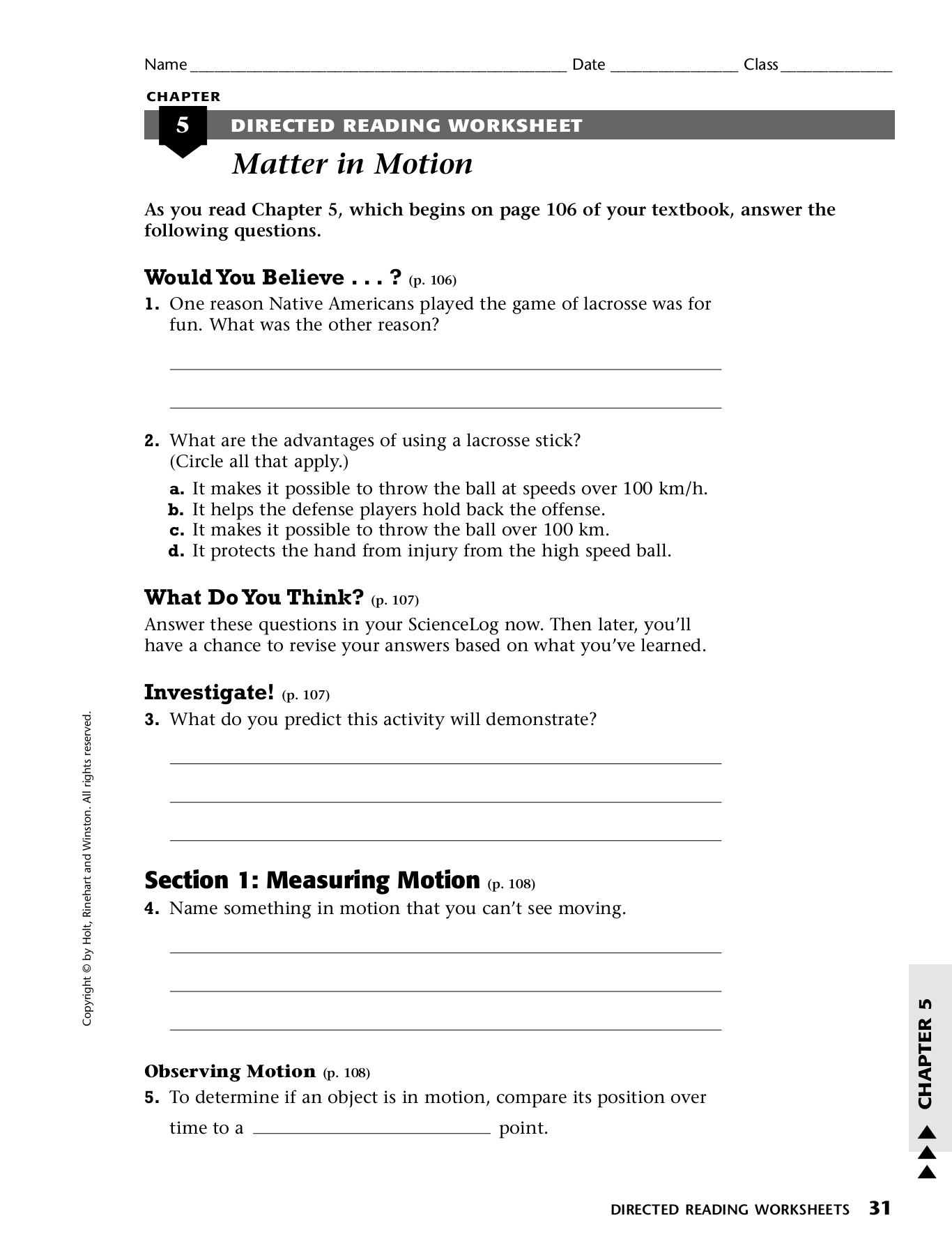 Chapter 5 Directed Reading Worksheet Matter In Motion