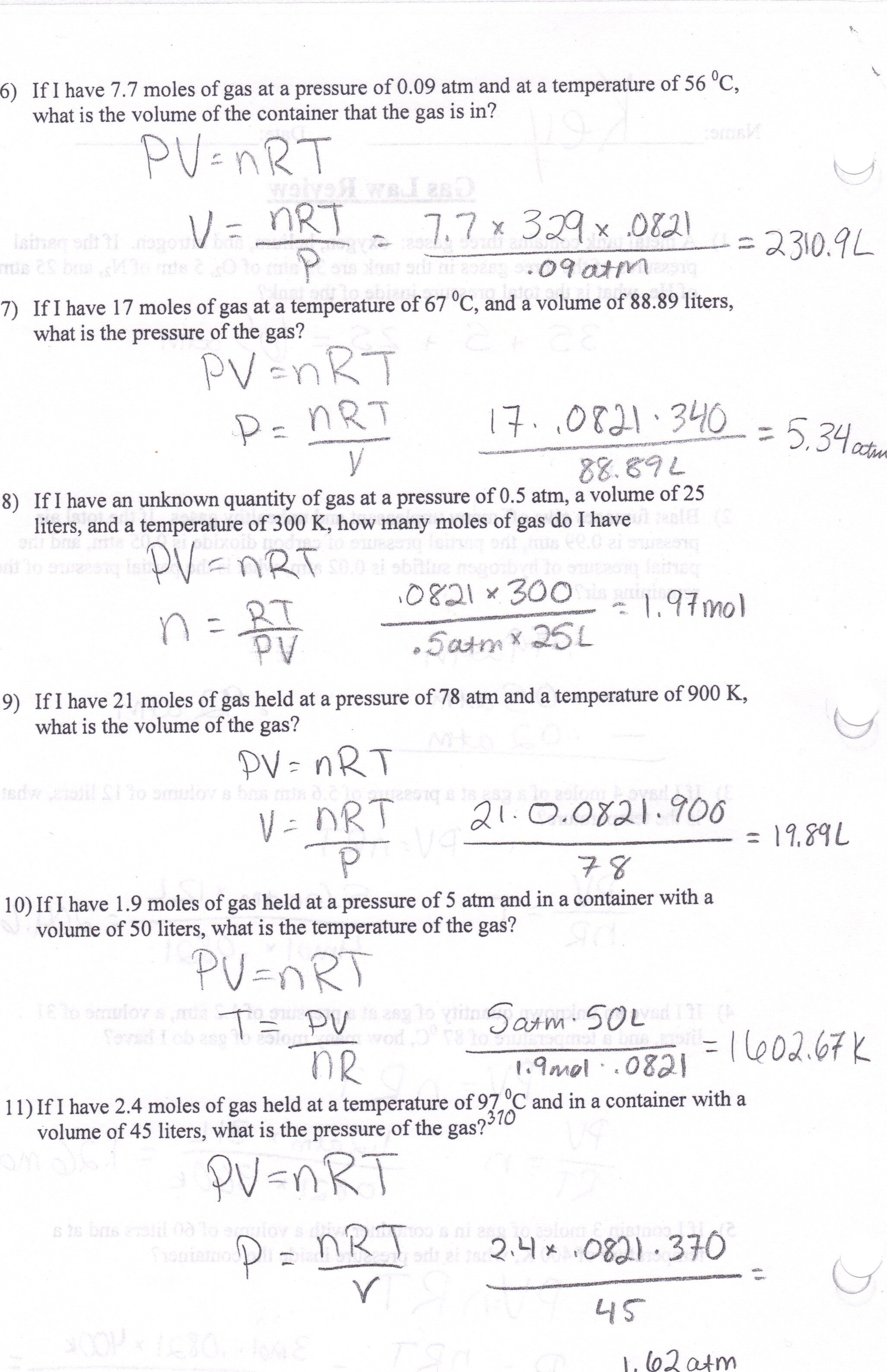 Charles Law Problems Answer Key Laws Worksheet Answer Key
