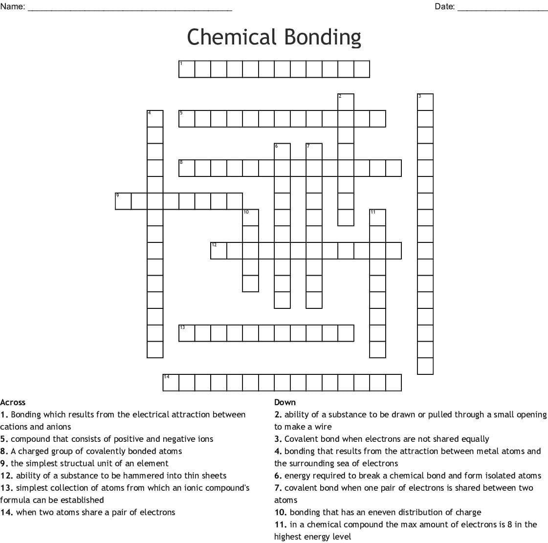 Chemical Bonding Worksheet