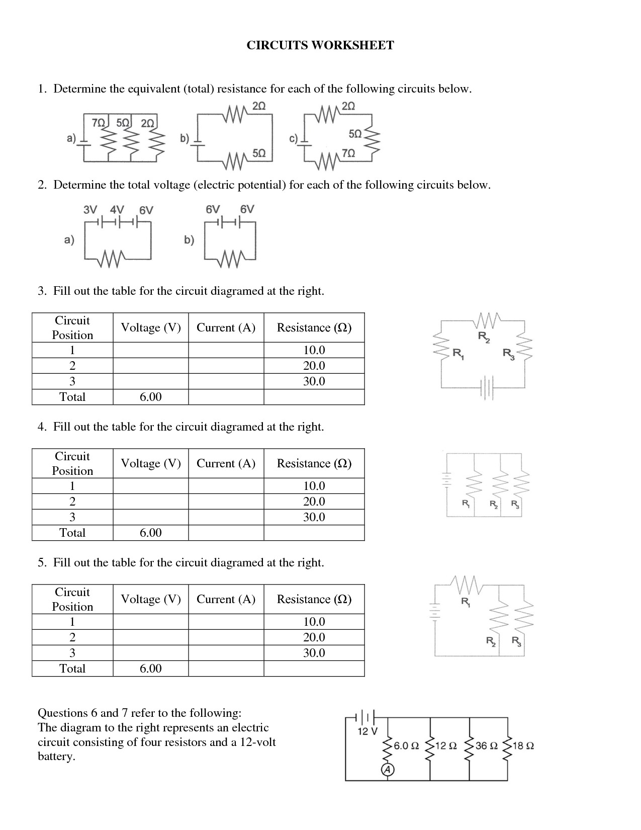 Electrical Circuit Worksheets Db Excel