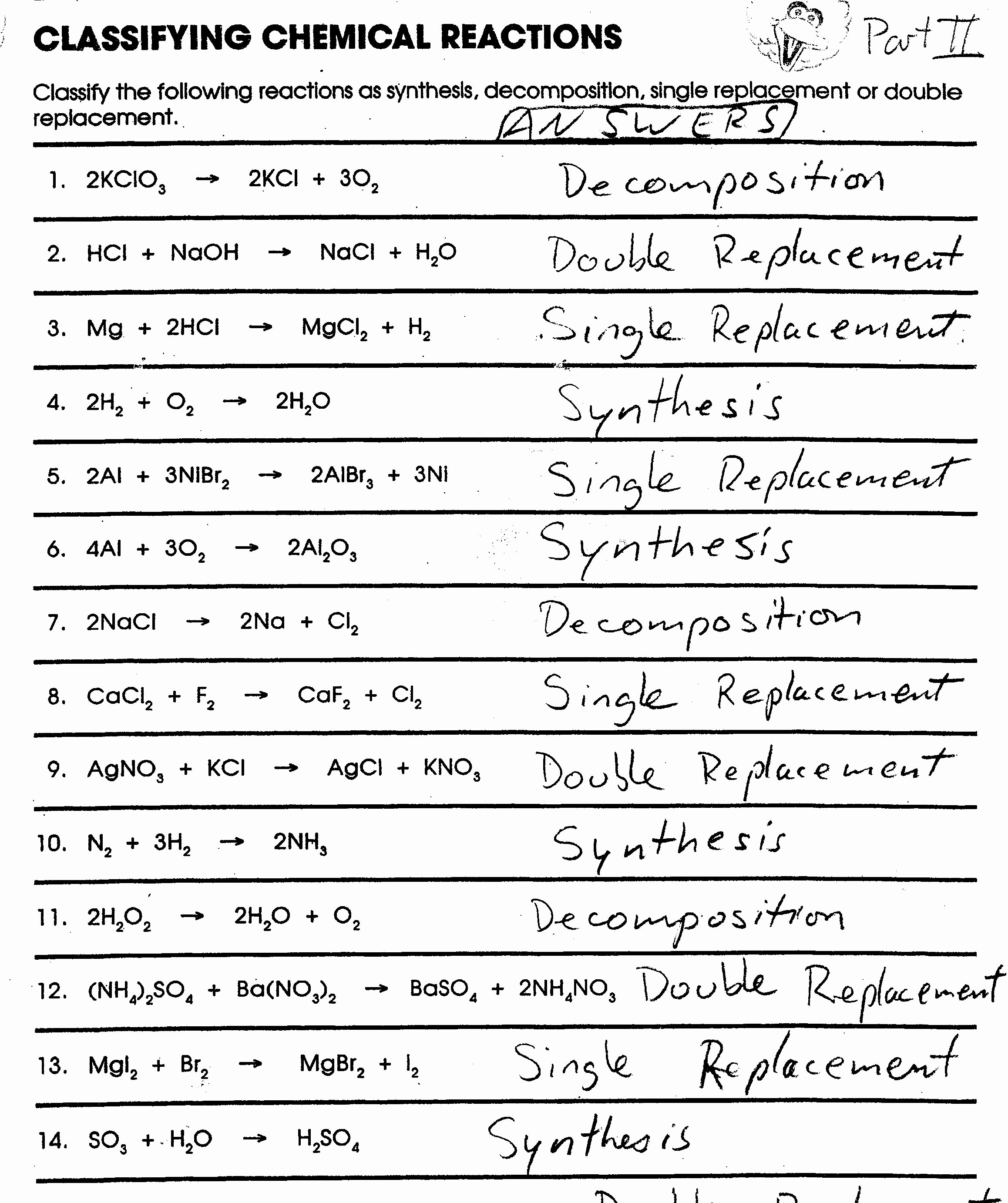 Classifying Chemical Reactions Lab Worksheet Answers