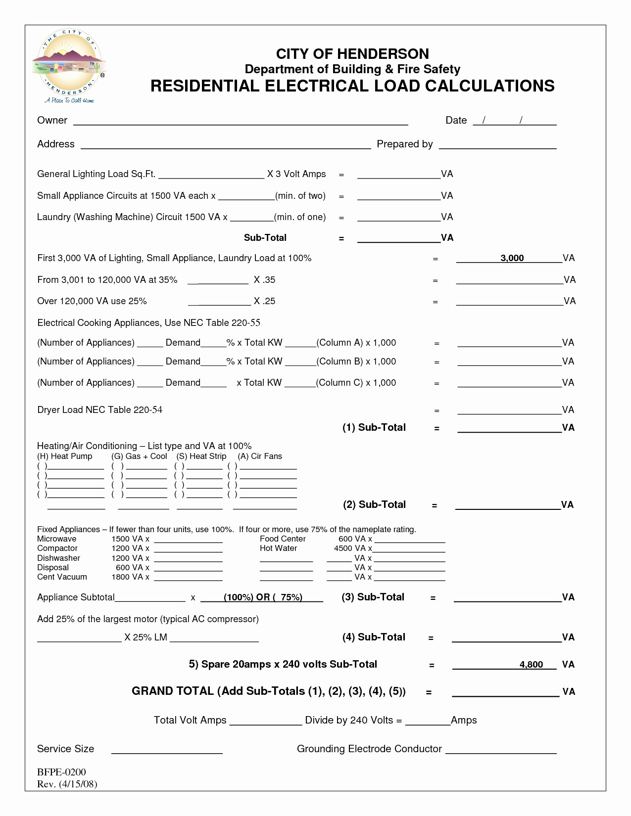Commercial Electrical Load Calculation Worksheet
