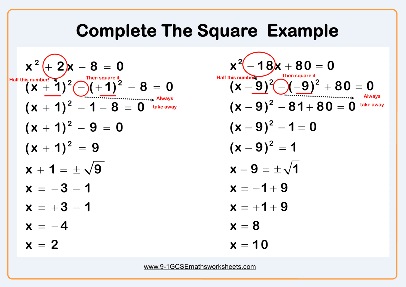 Completing The Square Worksheet Practice Questions Cazoomy