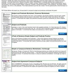 4th Grade Simple Predicate Worksheet   Printable Worksheets and Activities  for Teachers [ 1800 x 1273 Pixel ]