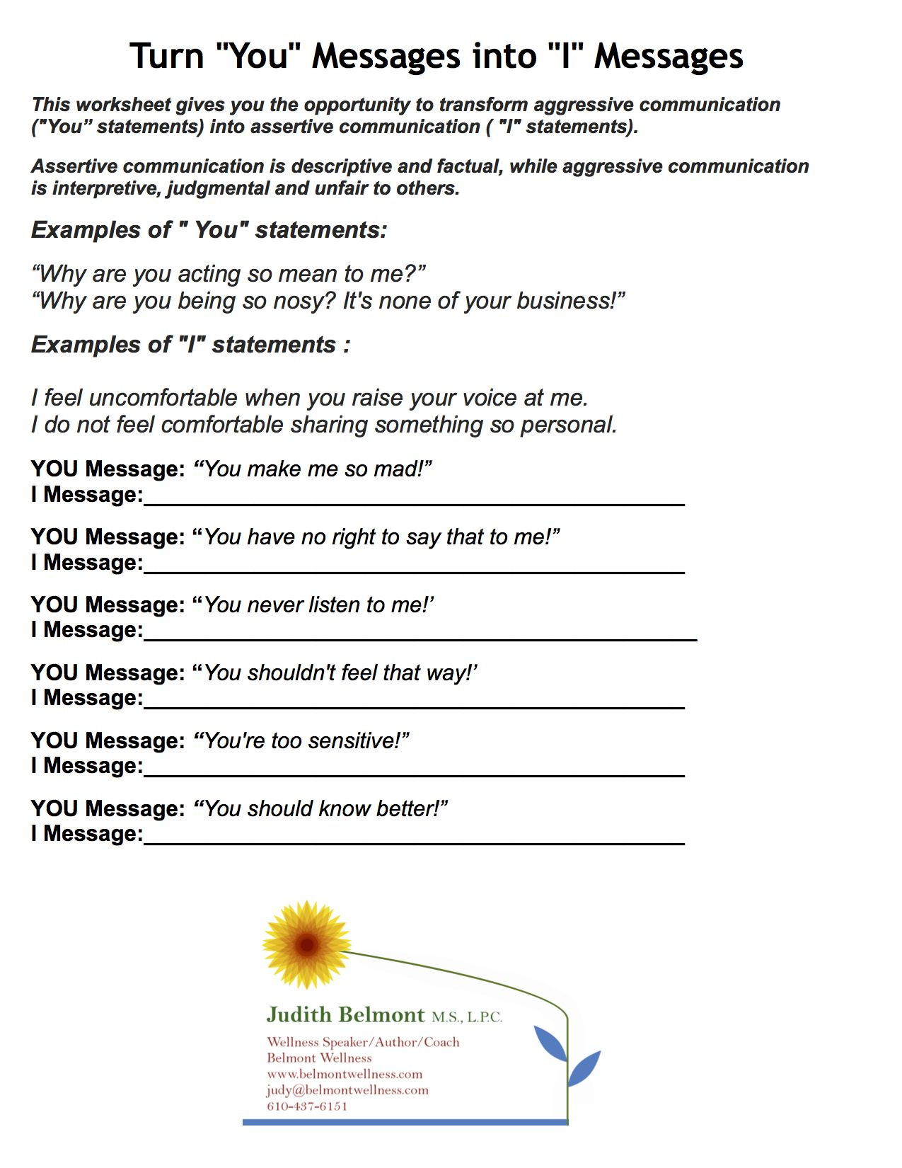 Boundaries Worksheet Therapy