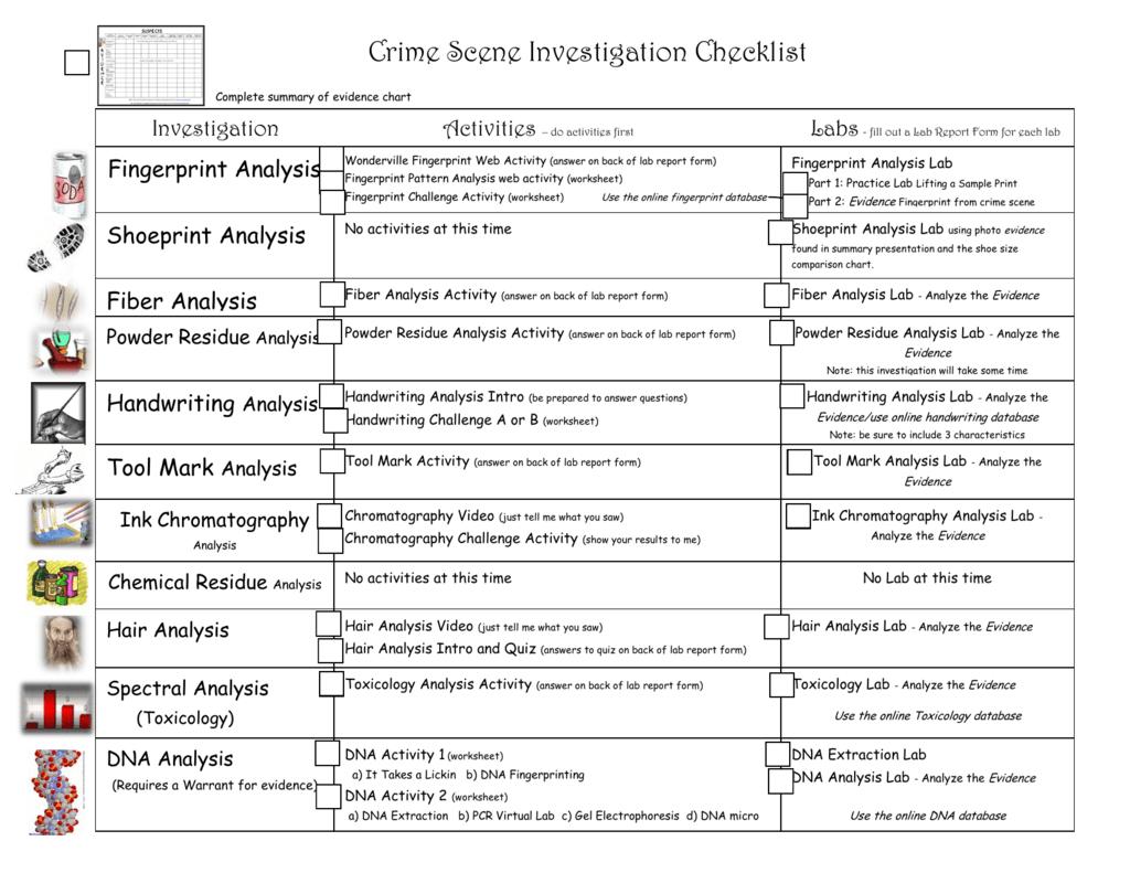 Crime Scene Investigation Worksheets Db Excel