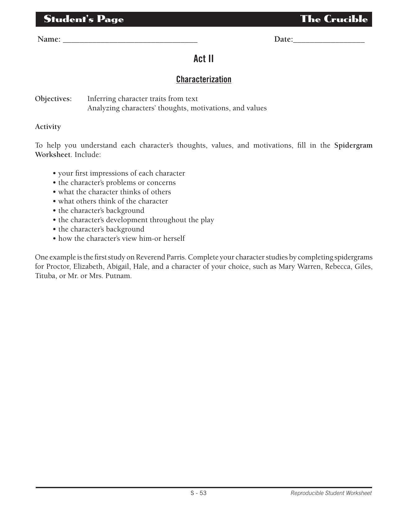 Crucible Characterization Act Ii