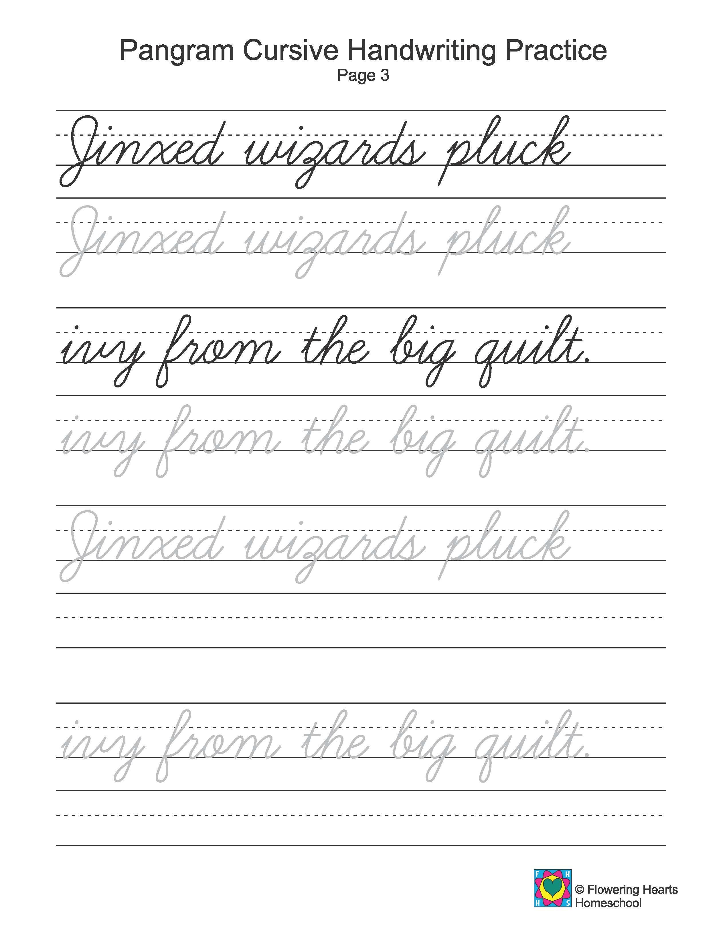 Cursive Writing Worksheets Pangrams Cursive Writing
