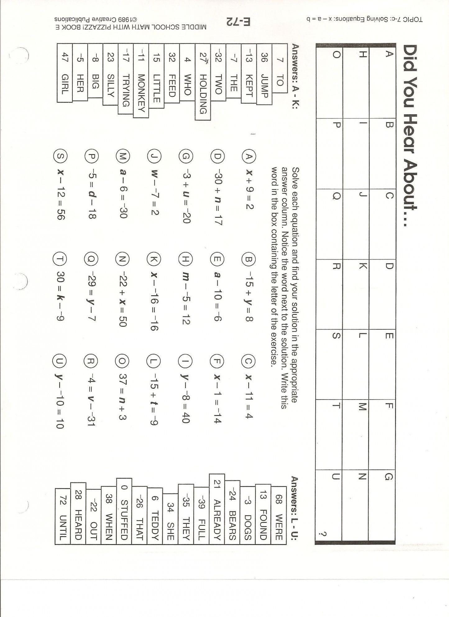 Math Worksheet Did U Hear About