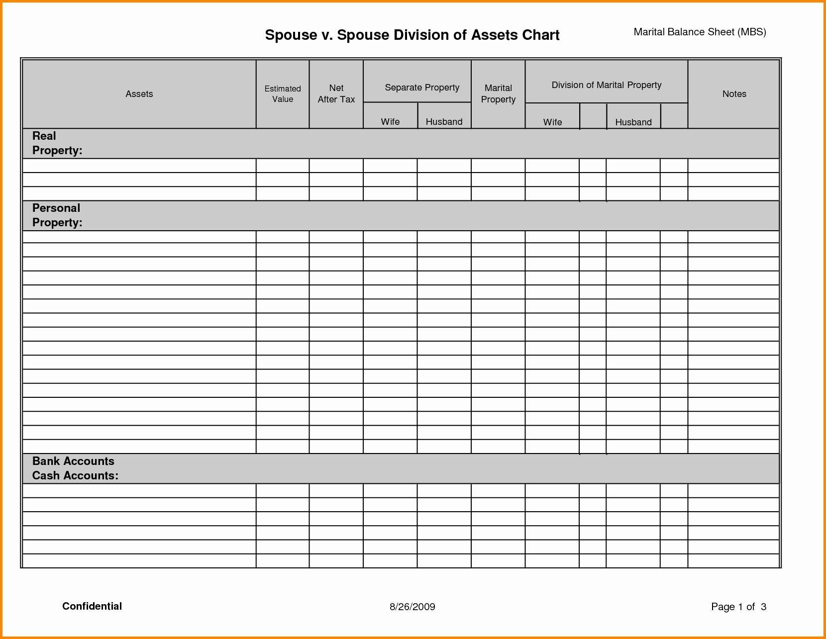 Divorce Assets And Liabilities Worksheet