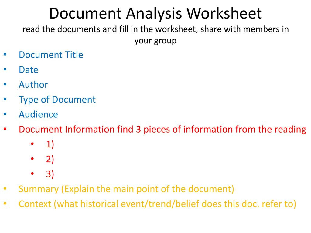 Documentysis Worksheet Read The Documents And Fill In