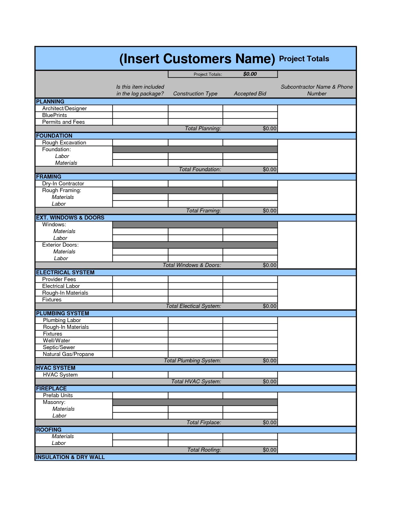 Tile Estimate Worksheet