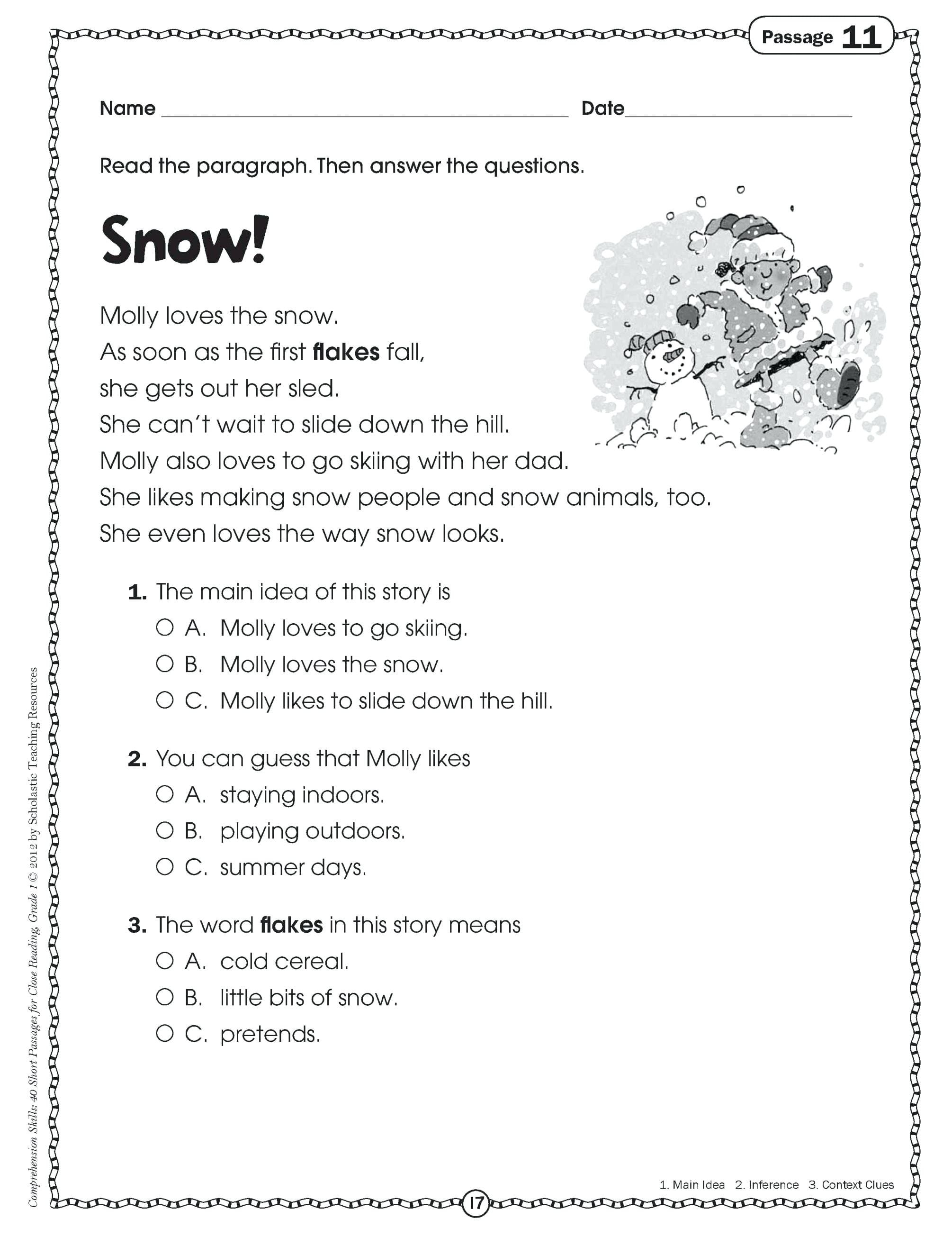 Early Reading Comprehension Worksheets Tedpaperco