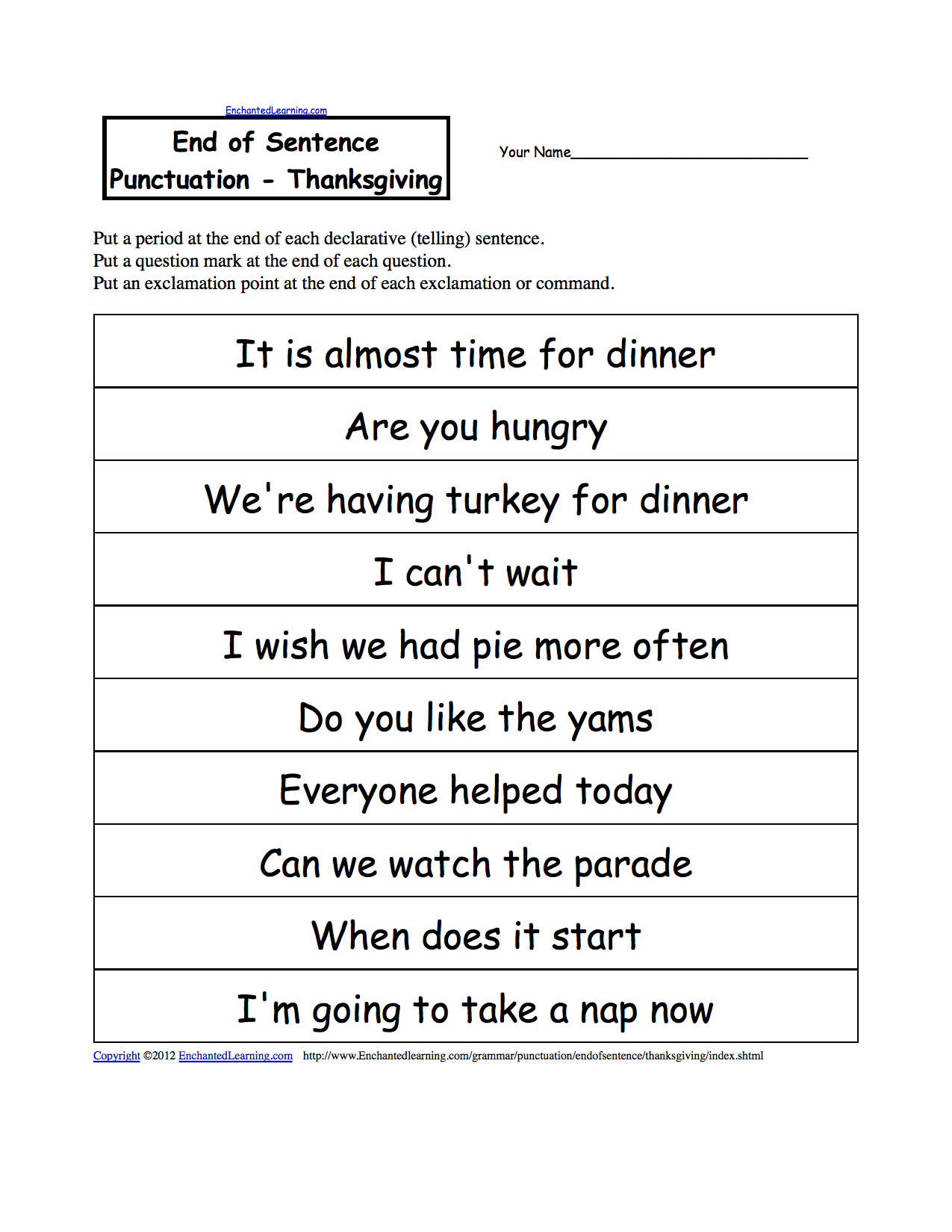 End Of Sentence Punctuation Printable Worksheets