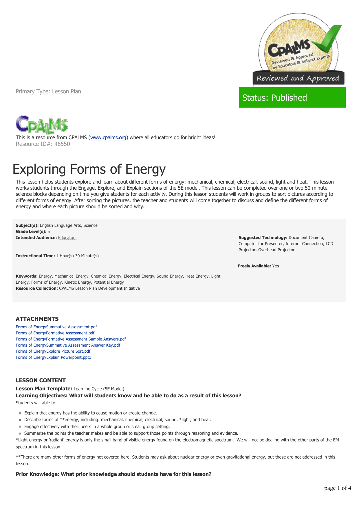 Energy Forms And Changes Simulation Worksheet Answers