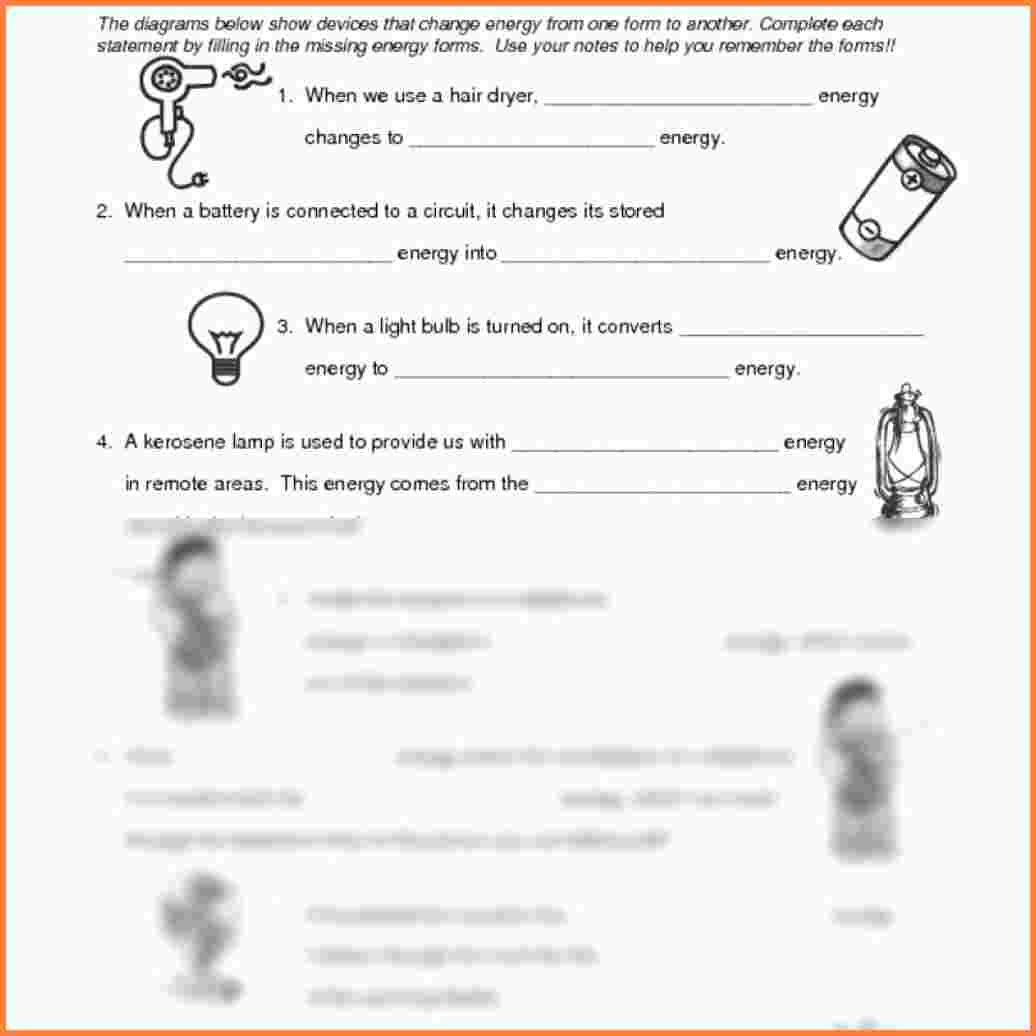 Energy Transformation Worksheet Answers Beautiful Diagram
