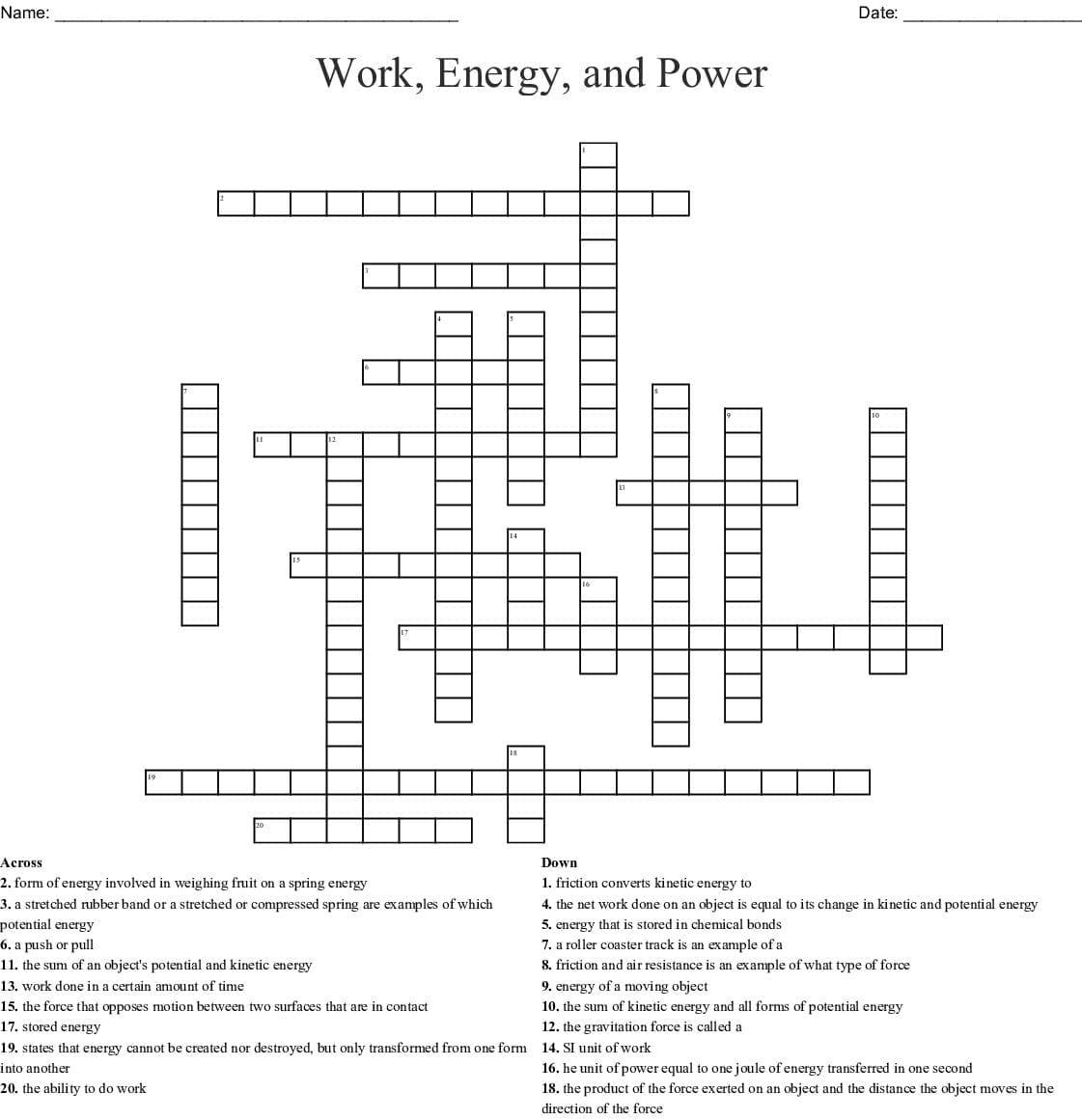 Energy Vocab Crossword Word