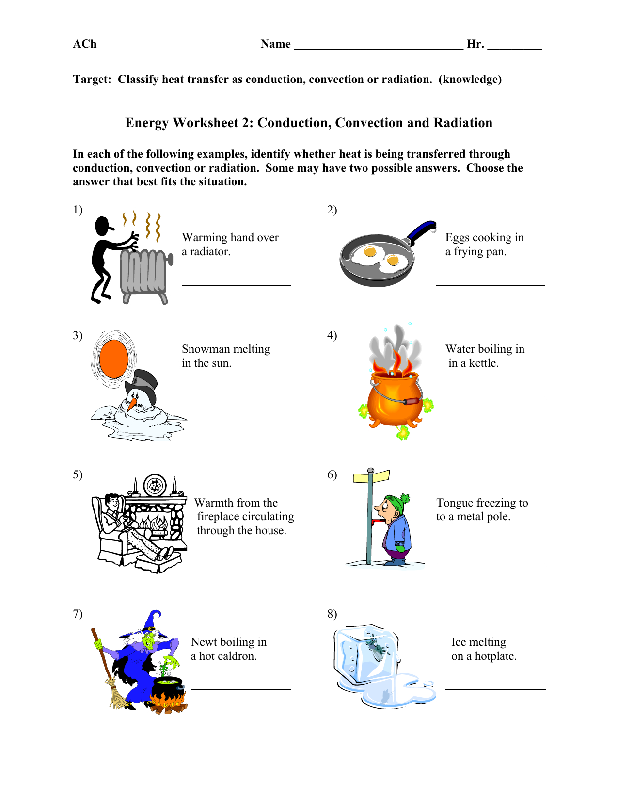 Conduction Convection And Radiation Worksheet Db Excel