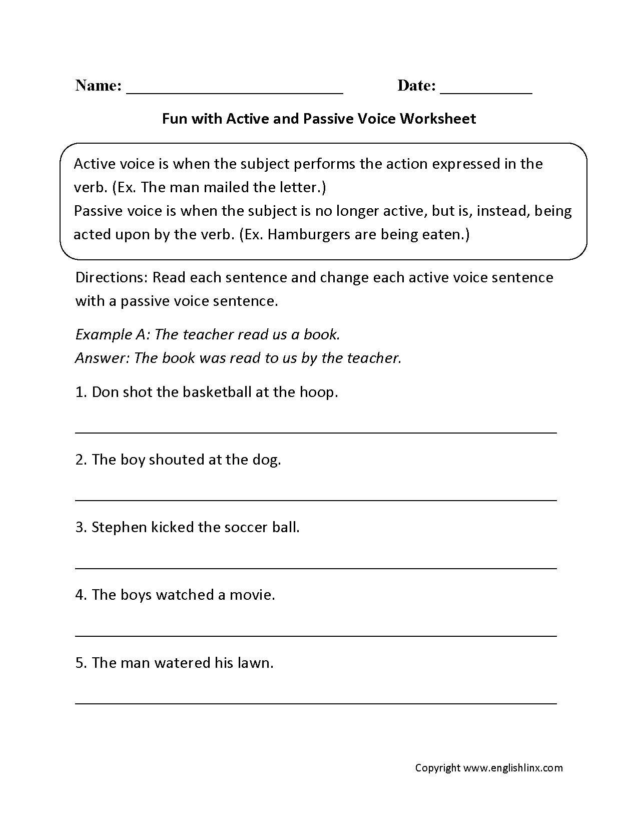 Englishlinx Active And Passive Voice Worksheets