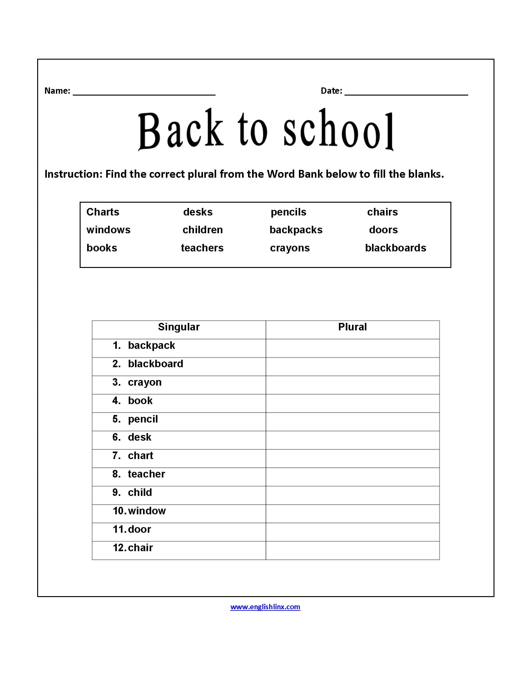 First Day Of School Worksheets 4th Grade