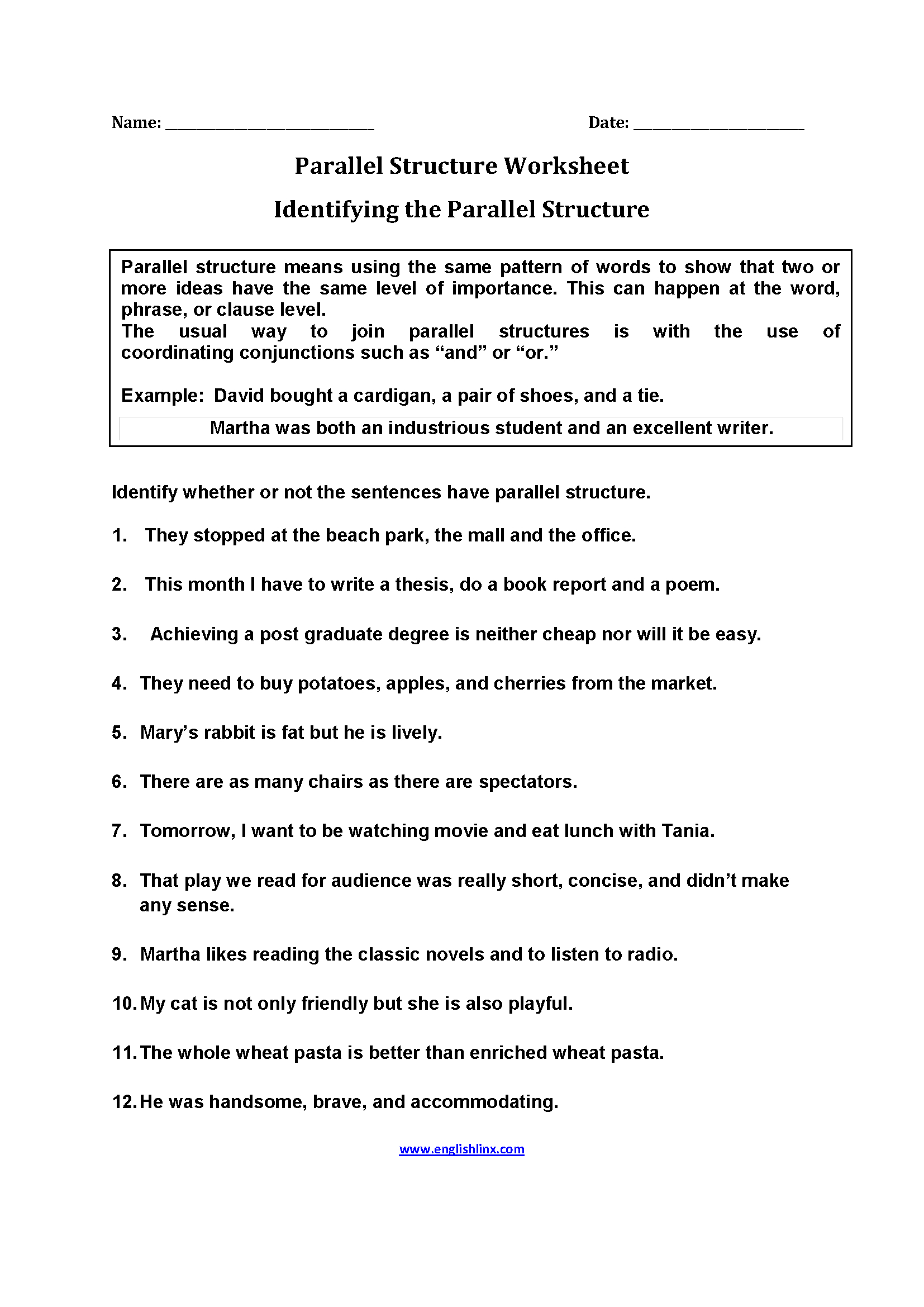 Parallel Structure Practice Worksheet Db Excel