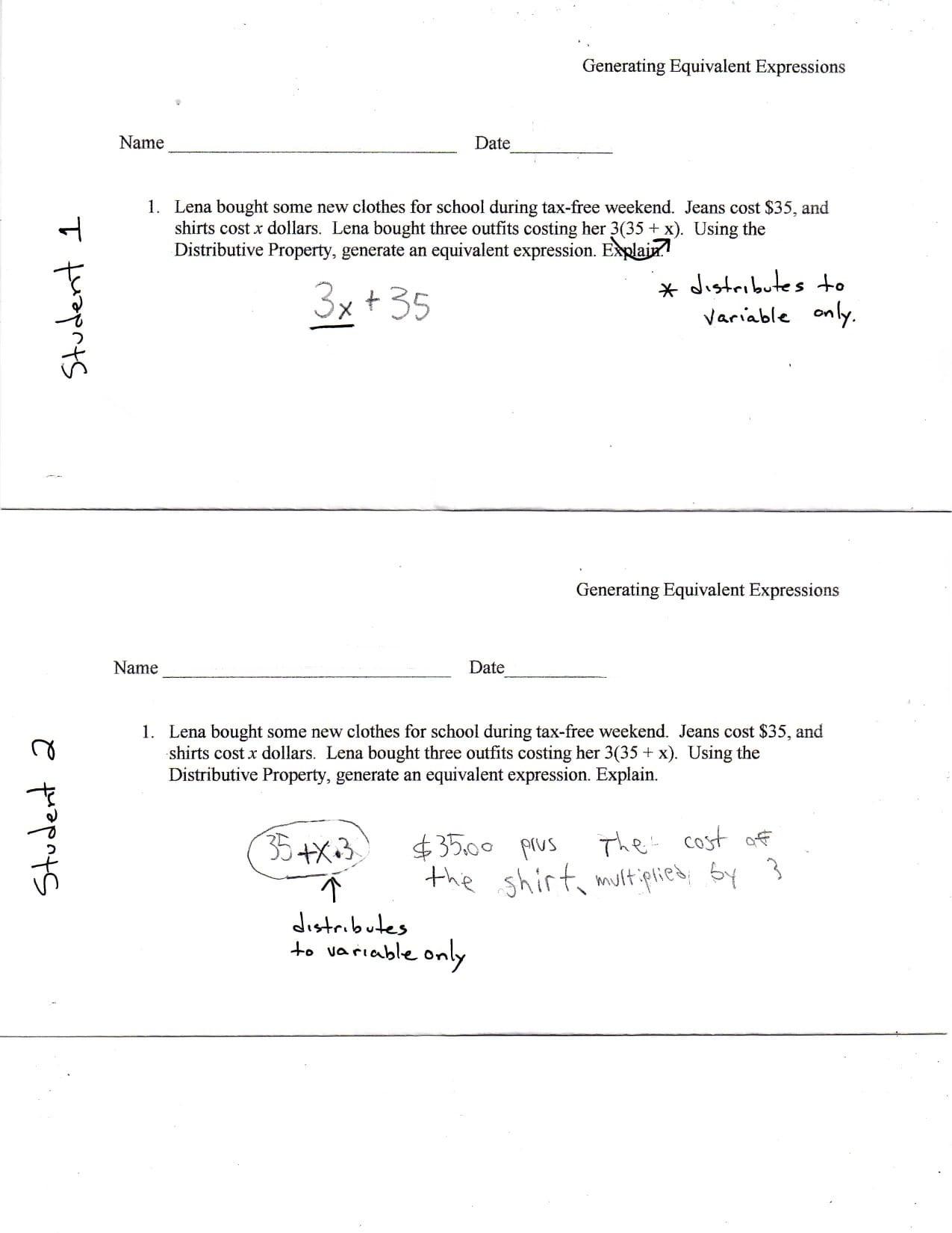 Equivalent Expressions Worksheet