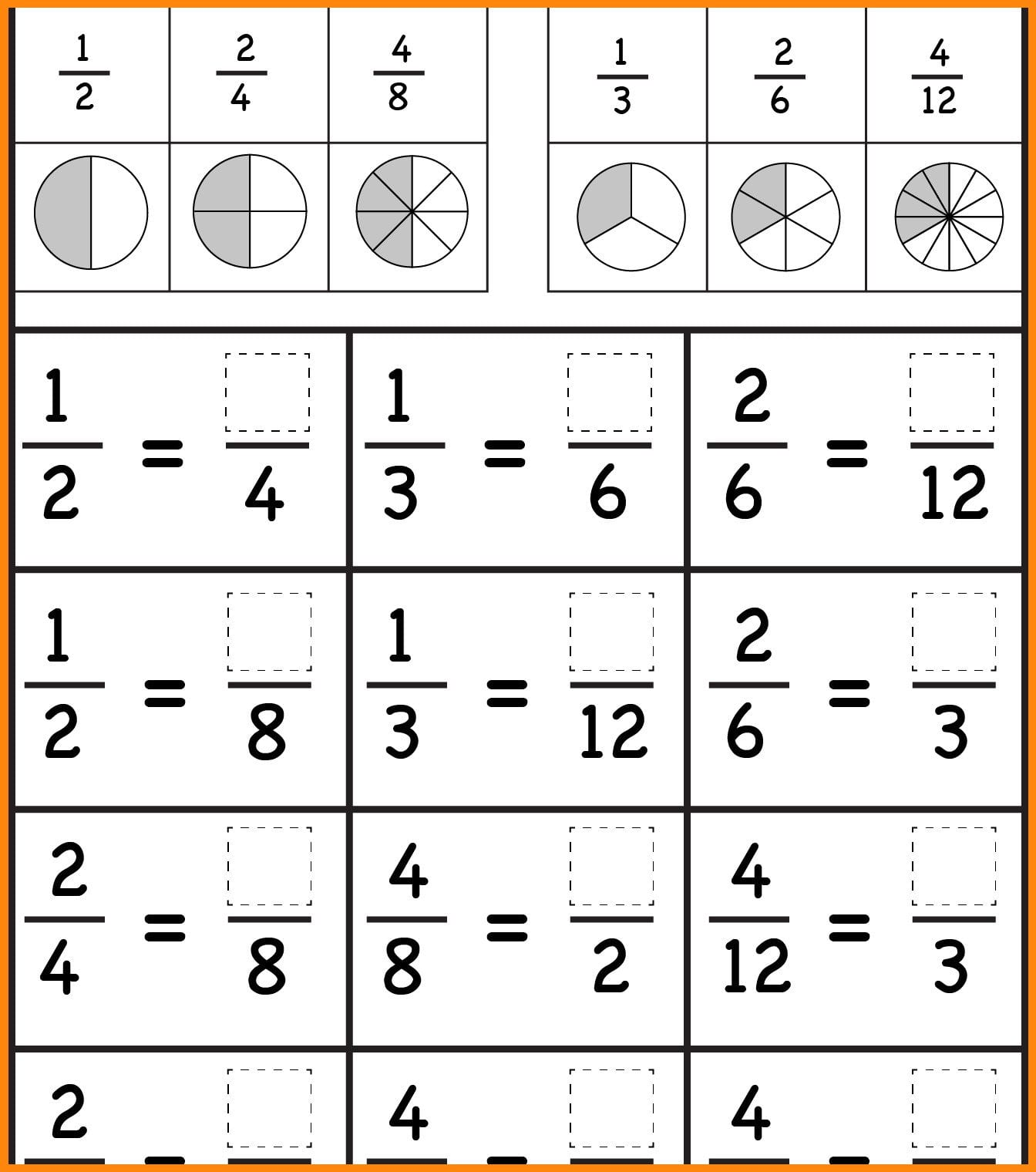 Equivalent Fractions Education Math Finding Worksheets 4th