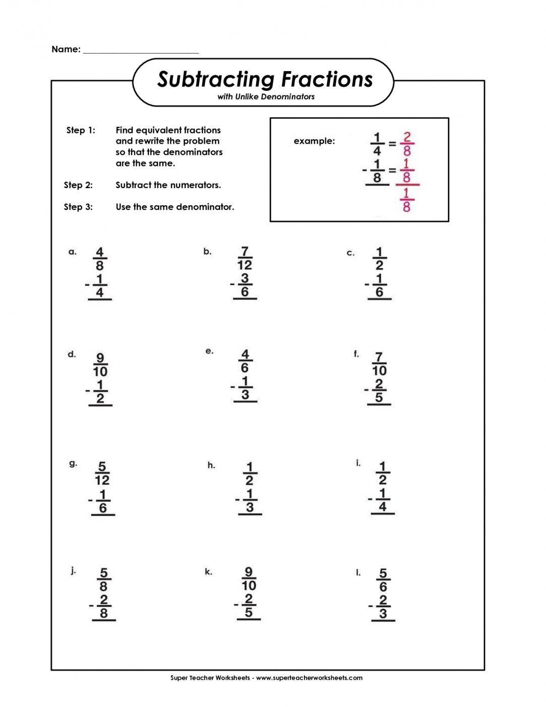 Equivalent Fractions Worksheet 5th Grade
