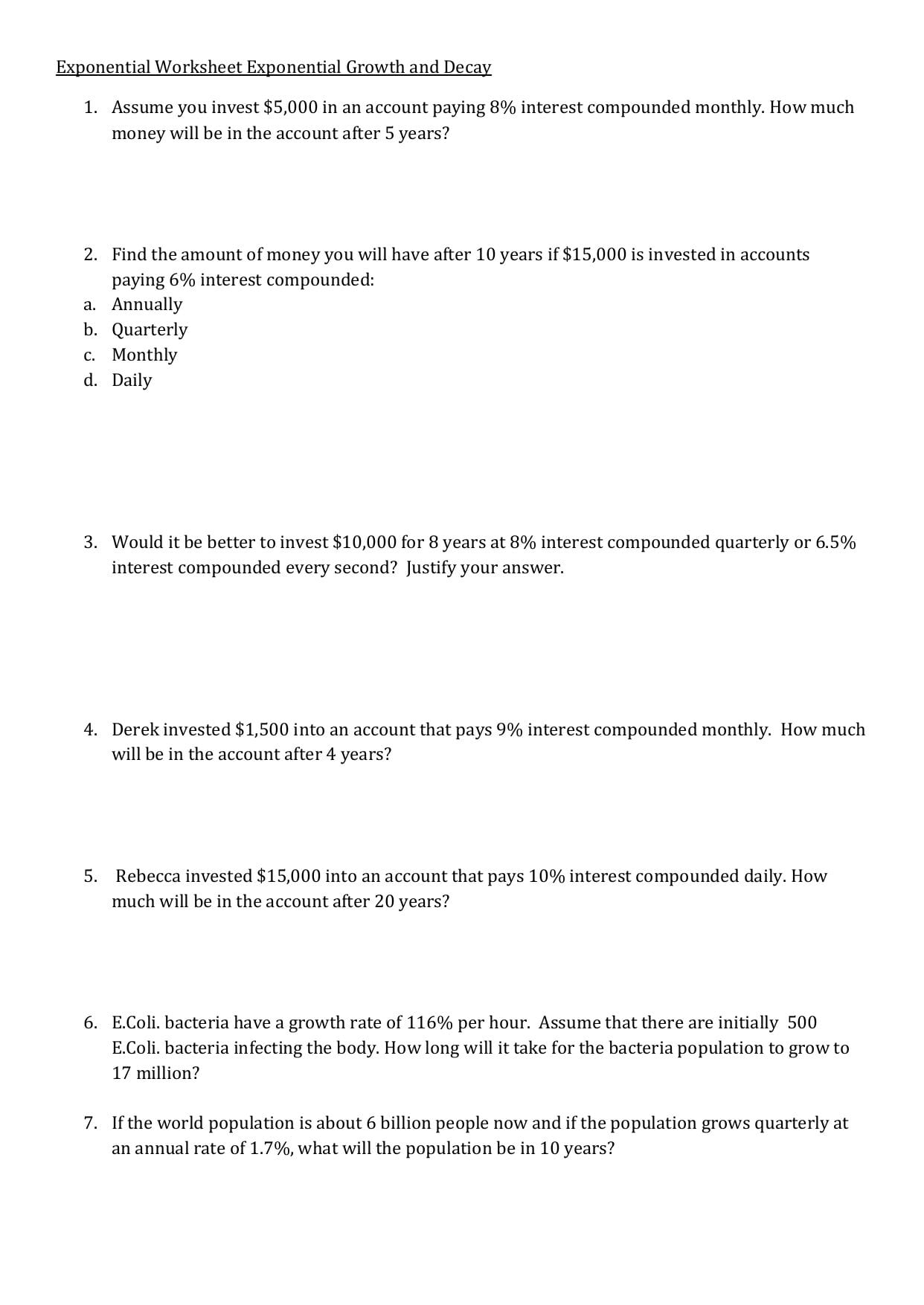 Exponential Worksheet Exponential Growth And Decay 1