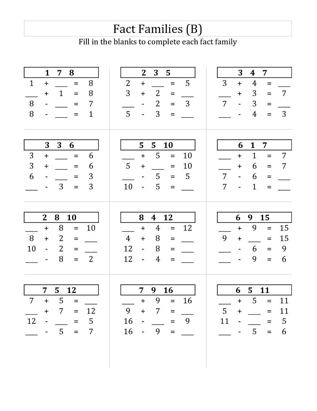 Fact Family Worksheets For Ft Grade Activity Shelter