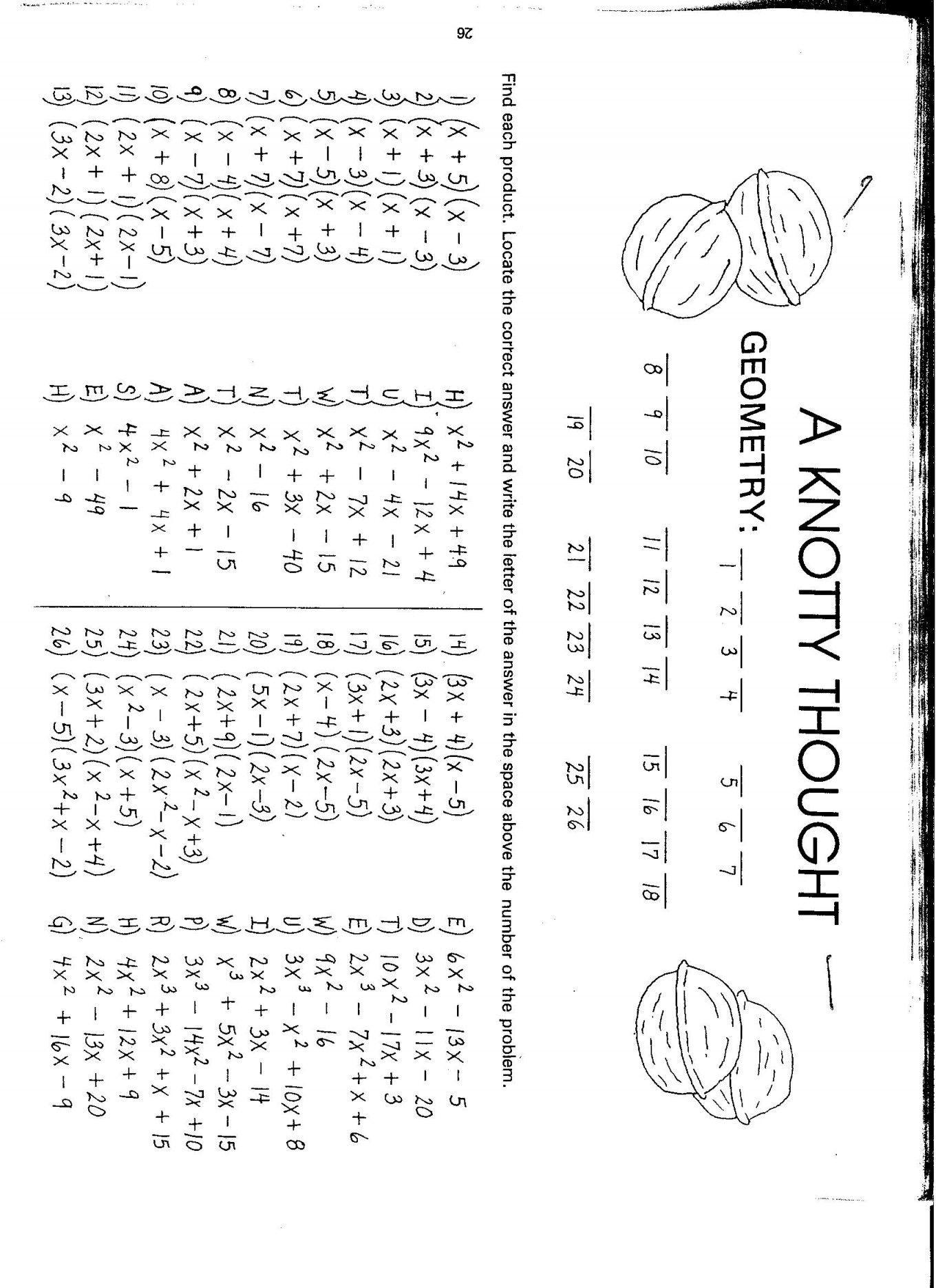 Factoring Binomials Worksheet