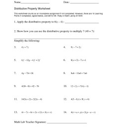 Using Distributive Property Worksheets 9th Grade   Printable Worksheets and  Activities for Teachers [ 1650 x 1275 Pixel ]