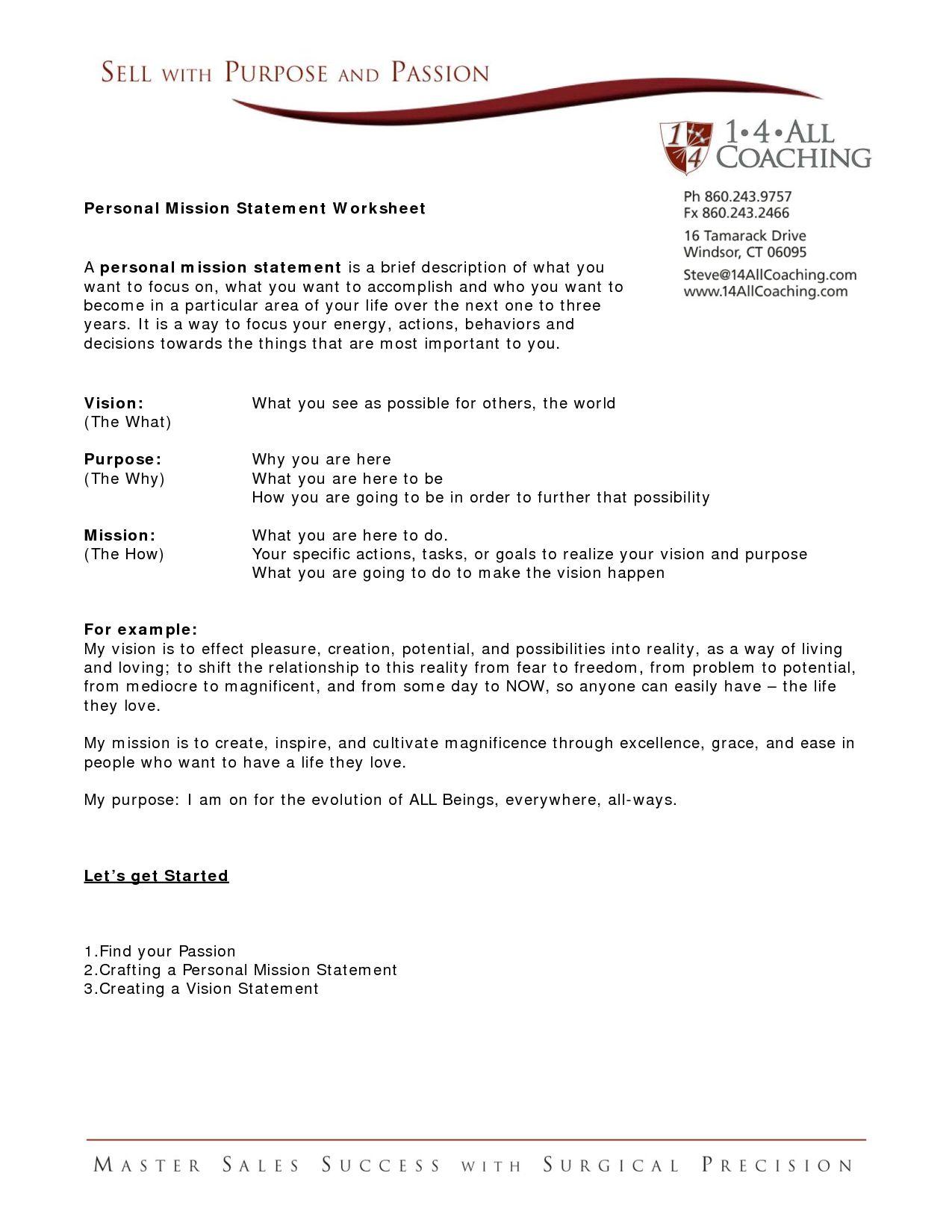 Family Mission Statement Worksheet