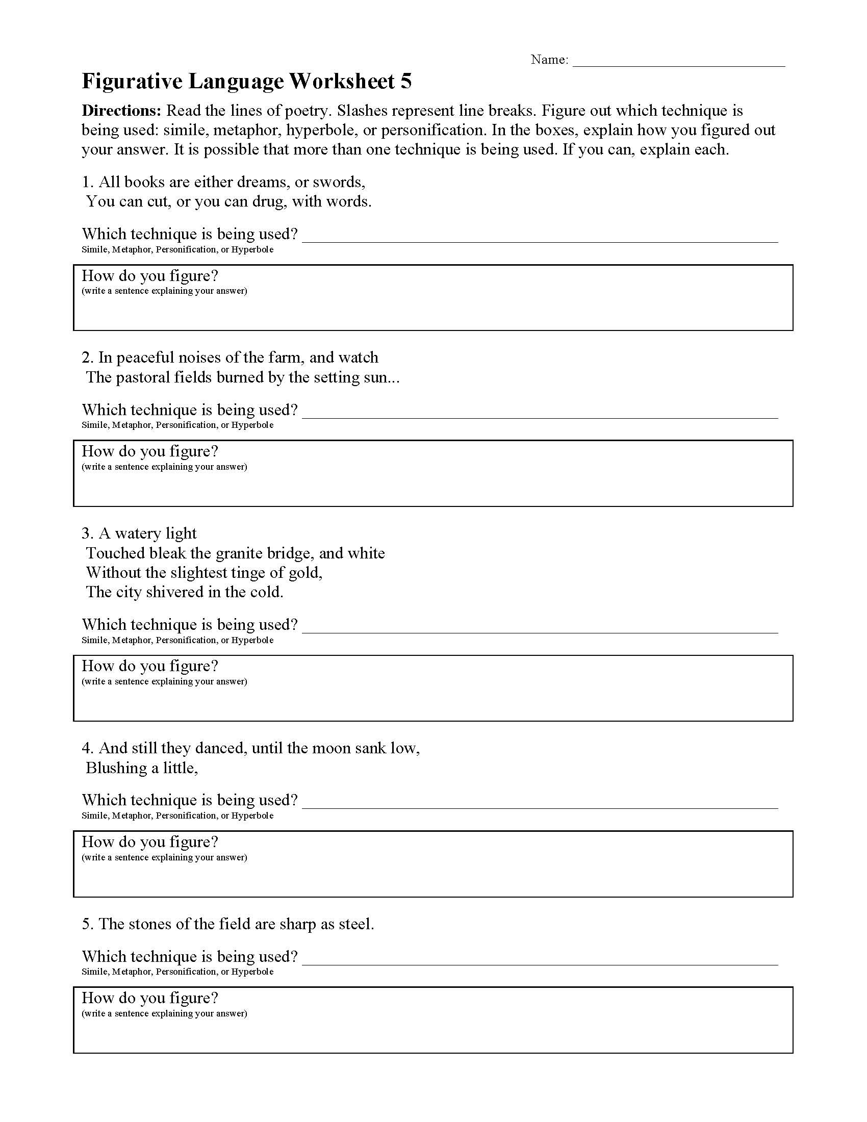 Figurative Language Figurative Language Worksheet Good