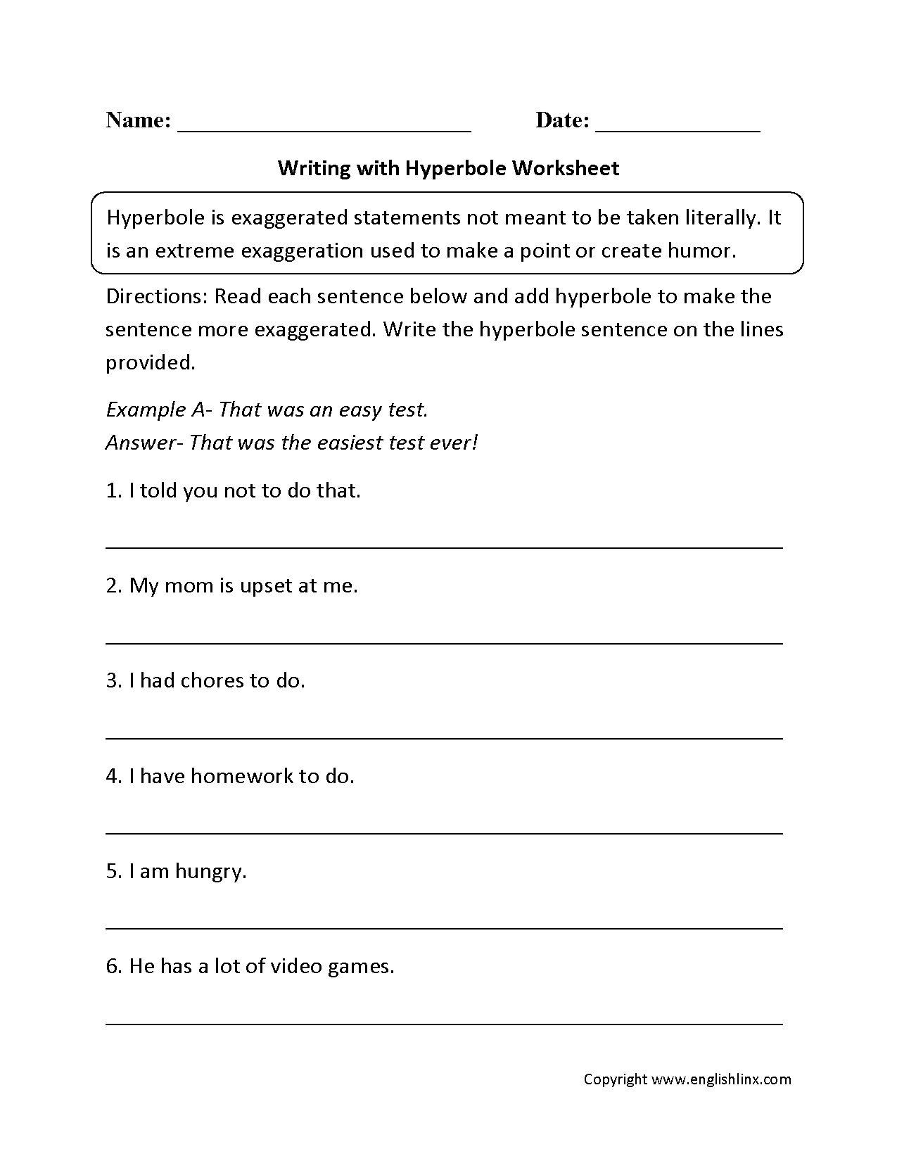 Language Worksheets For 5th Grade
