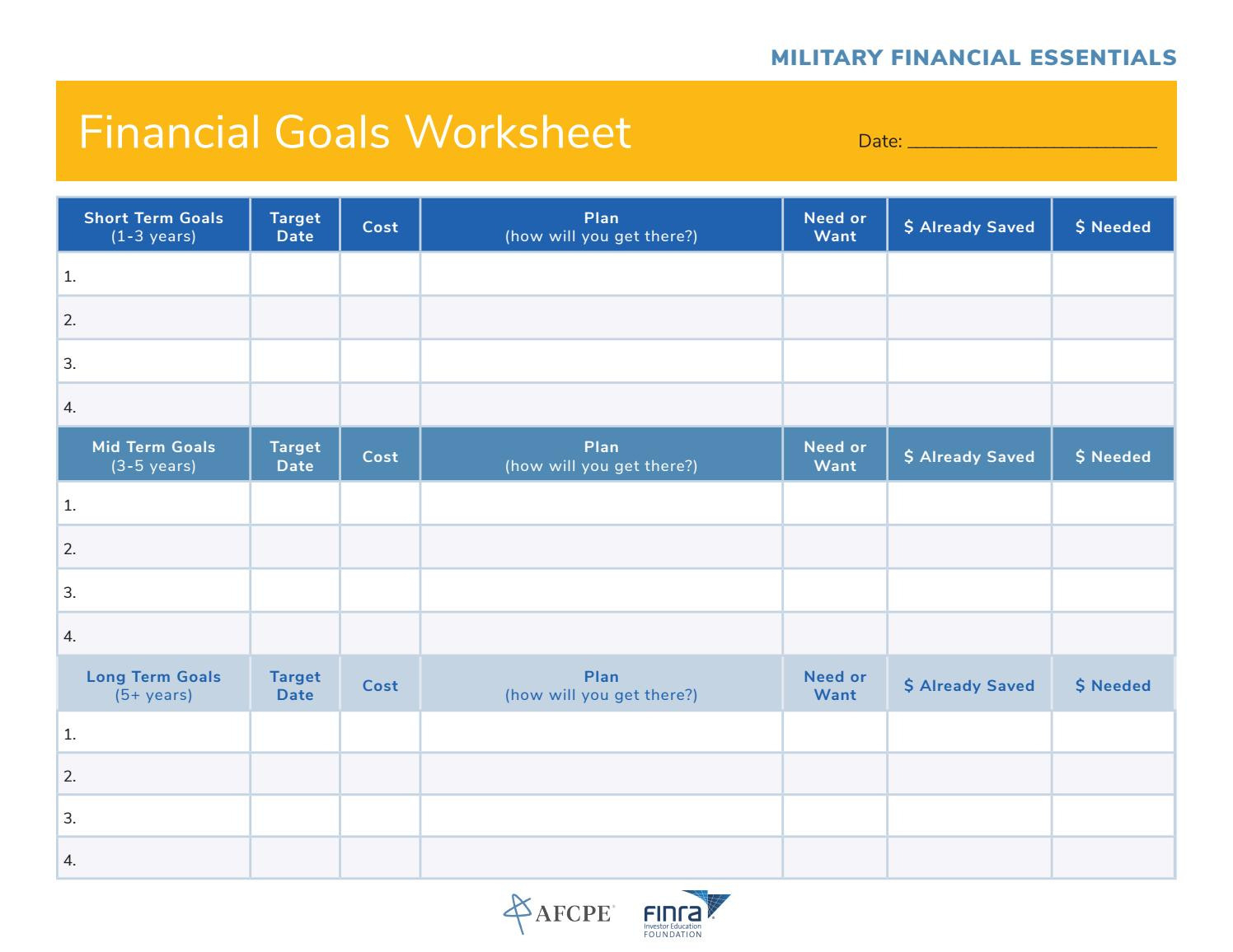 Financial Goals Worksheet