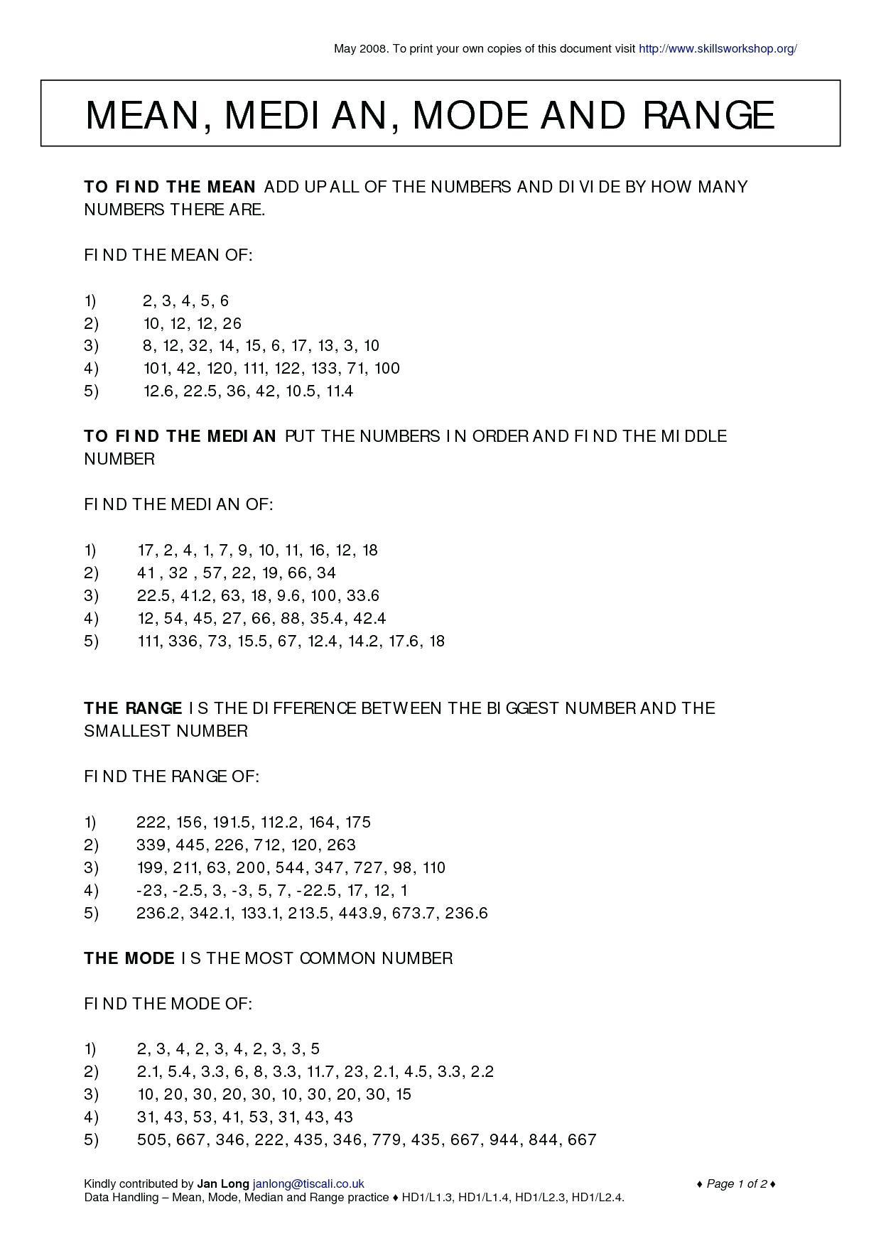 Find Mode Math Mean Median Mode Range Worksheet Worksheets