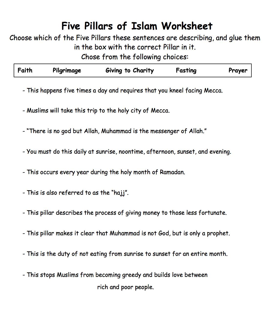 Five Pillars Of Islam Worksheet